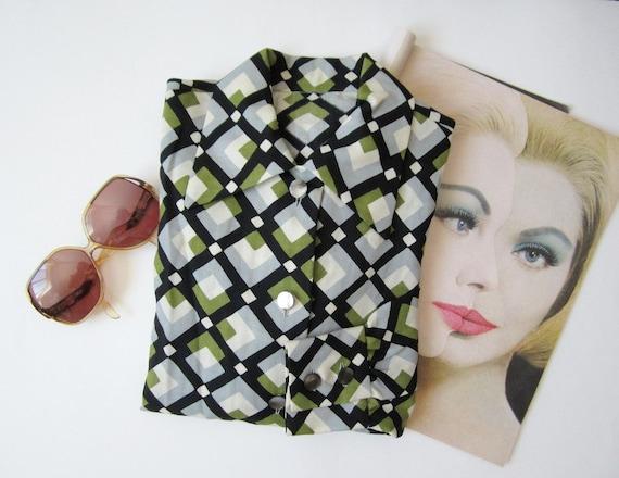 1960s Christian Dior Geometric Button Down Shirt