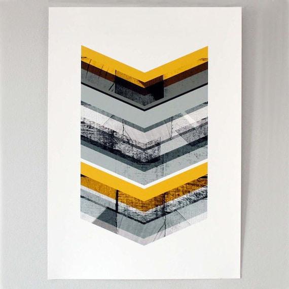 Grey & Yellow Chevron - large print