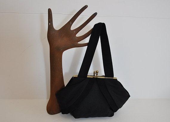 1940s purse / Draped Pleated Vintage 40's Black Bag Gold Kiss Lock Frame