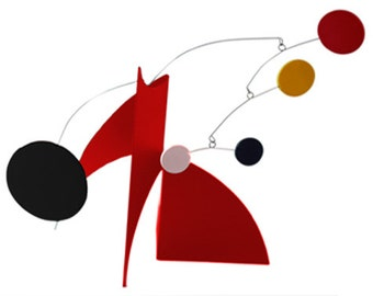Modern Art Desktop STABILE - KINETIC TABLETOP Sculpture Red Black Yellow White