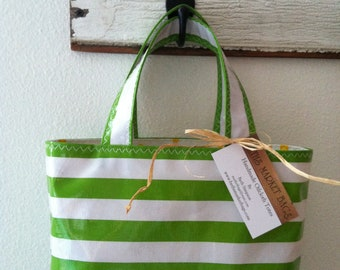 Beth's Small Green Stripes Oilcloth Tote Bag