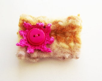 SALE - Felt textile brooch, yellow pin with pink button