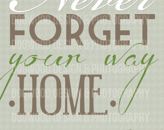 Never forget your way home - art poster 8x10 print