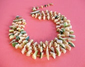 Vintage Mid Century Tiki Japan Four Strand Shell MOP Necklace Polynesian Princess