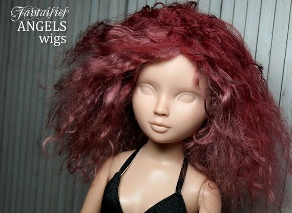 RESERVED for LindaDolores -- Tibetan Lambswool Hard Cap Wig for size 7/8 wigged bjd doll--- Sweet Wine