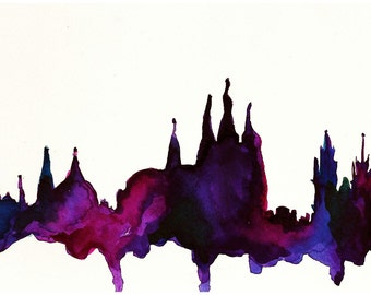 Prague Watercolor Illustration Print
