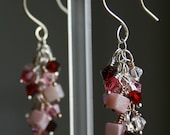 RESERVED for Lisa - Cluster Earrings Pink Peruvian Opals Swarovski Crystals Sterling Silver