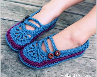 Download Now - CROCHET PATTERN Youth Goodie 2-Strap Ballet Flats - Sizes 10-11 to 3-4 - Pattern PDF