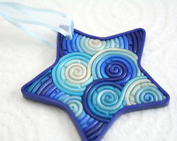 Star Christmas Ornament in Blue, Teal, White Polymer Clay Filigree