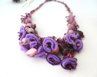 Wild lupine II necklace, mixed media wearable art purple necklace, bead mix, statement, bohemian, Coachella, eco-friendly, romantic
