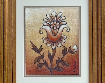 Flower III original floral artwork,  framed ready to hang, home decor, collectible, brown, acrylic on burlap, fantasy