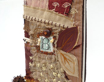 Fiber art collage journal / sketchbook, ENCHANTING FALL, free style and bead embroidery, fabric collage, up cycled, fantasy