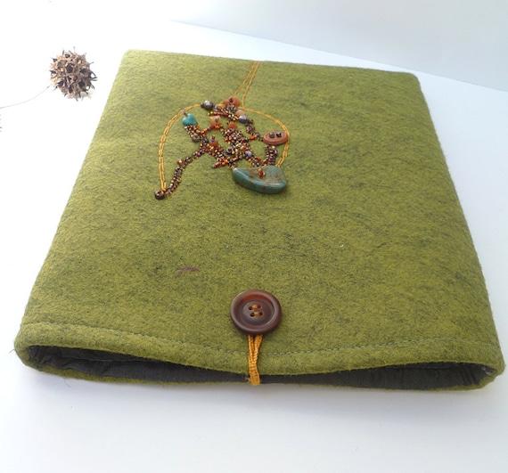 Green felt iPad sleeve, fiber art case
