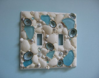 Seashell and Seaglass Double Light Switch Plate Cover - Aqua and White