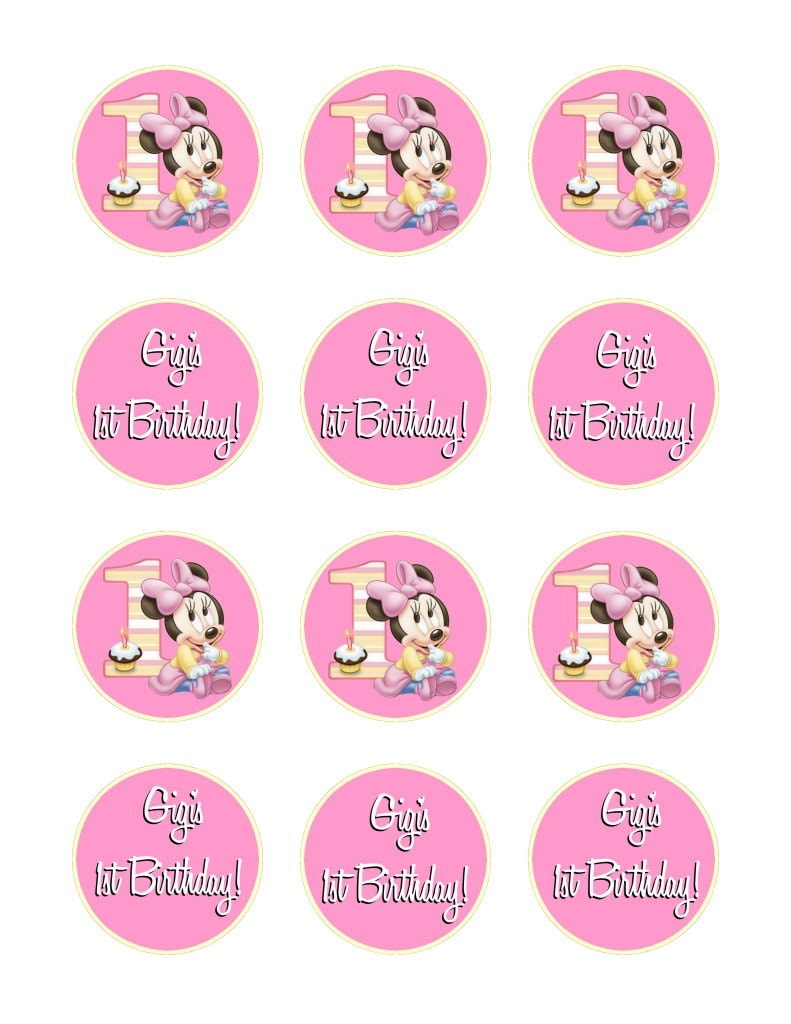 Cupcake Topper Minnie Mouse 1st Birthday by Createphotocards4u