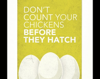 """Children's Art Print Poster, Nursery Art, Children's Room, Proverbs, Idioms, """"Don't Count Your Chickens Before They Hatch"""", 11x14 Print"""