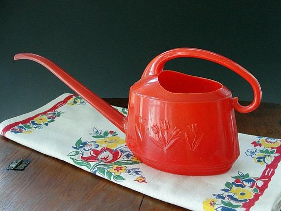 Plastic Watering Can Water Pitcher Retro Red Sprinkling Can Floral Tulips Mid Century Shabby Cottage Garden Vintage 1950s