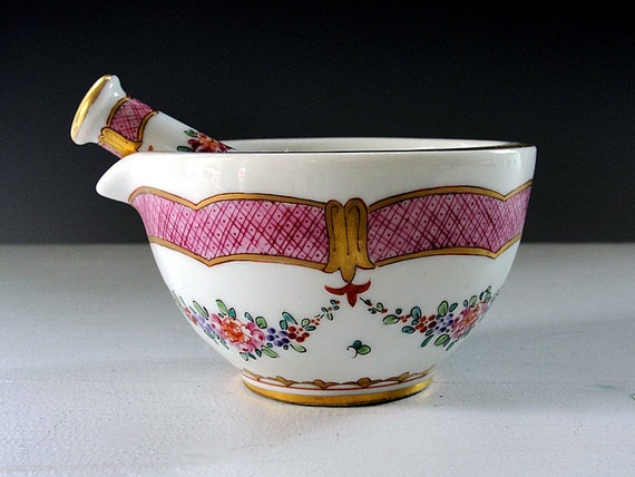 Antique Mortar and Pestle Ornate French Porcelain Bowl Floral Geometric Pink Green Gold Trim Vintage 1800-1830