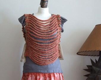 CAPELET avant garde shrug, hand crocheted schrug, fall foliage vest, woman vest, red - brown fall capelet, birthday gift, boho shrug vest