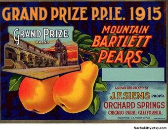 1915 California Pear Label Won Grand Prize Pan Pacific Expo Mint Condition Ready to Frame