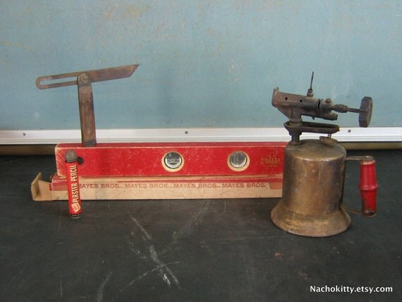 Tool Collection, Vintage 1930s 1950s Level, Blow Torch, Plaster Pencil, Carpeters Tool