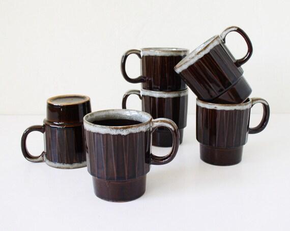 Vintage brown mugs