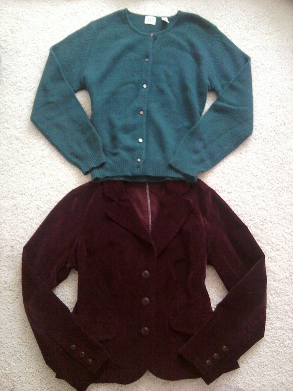 RESERVED ... Plums in Forest .... corduroy jacket and mohair cardigan LOT