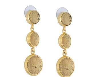 Triple Dangled Pyrith Gold Earrings