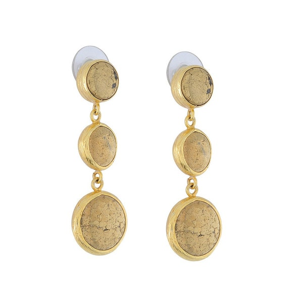 Triple Dangled Pyrith Gold Earrings