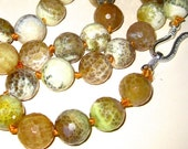 34 inch Golden Agate Faceted Bead Necklace  Silver Clasp Hand Knotted Extra Large 1/2 inch Beads