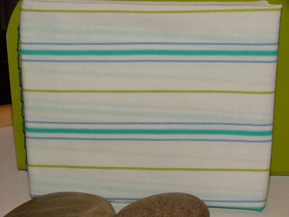 Blueberry Lime Stripe - fat quarter - upcycled sheet fabric