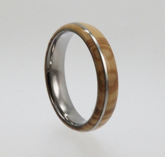 Olive Wood Ring - Highly Figured Inlay with Titanium Pinstripe Band - For Women and  Men