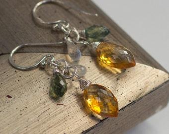Dangle Earrings Honey Quartz Green Apatite Rainbow Moonstone Handmade Gemstone