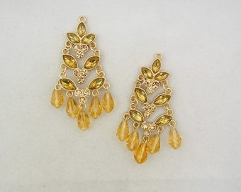 Pair of Matte Gold-tone Topaz Rhinestone Tiered Drop Charms