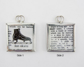 One Square Framed Two Sided Ice Skate Pendant