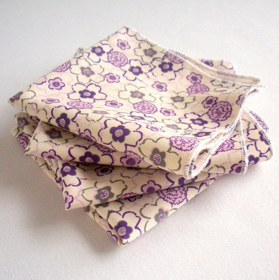 Childrens Organic Napkins - Organic Cotton, Eco Friendly - Washable, Reusable - Set of Four - Purple Flowers