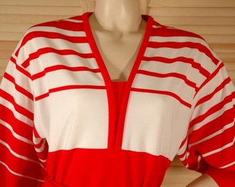 Vintage 70s Red and White Stripe Dress
