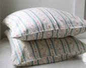 Sale / vintage 1940s pillow cases. Set of 2. Blue stripe, floral, zipper covers. Rustic home decor  / the ROSEHIP TEA pillow ticks