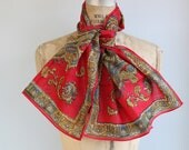Sale / vintage gold paisley scarf. Metallic threads in wool / 1970s / ruby scarlet multi / long / the SALSA PICANTE scarf