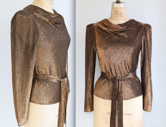 RESERVED   vintage 1980s metallic blouse. Small/Med. Copper gold black lame shirt with cowl neck, belt. Disco glam / the TEQUILA SUNRISE top