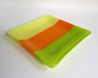 Citrus Stripes Fused Glass Plate in Yellow, Orange and Green by BPRDesigns