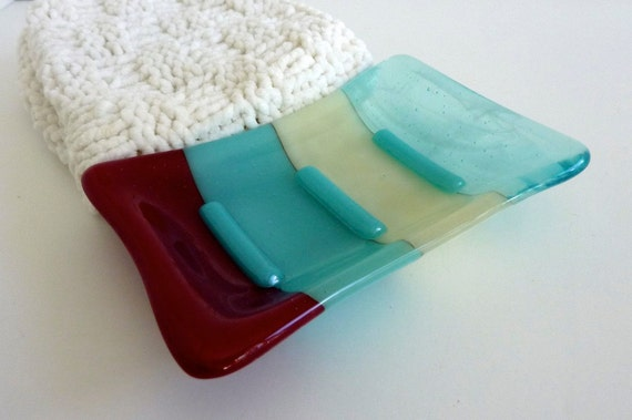 Fused Glass Soap Dish in Turquoise, French Vanilla and Red
