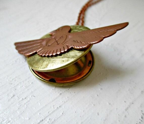 Vintage Brass Locket. Thunderbird Protection Amulet. Arrow Shield Tribal Necklace