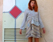 Summer dress - upcycled cotton shirt - Tatter Art Dress -  made by kathrin kneidl for resplendent rags