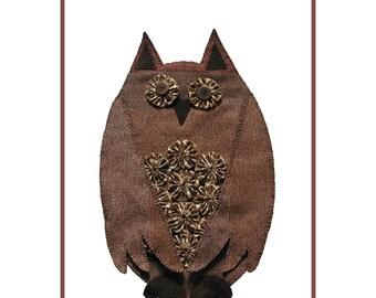 PDF pattern for a 12 x 19 inch wool and cotton yo-yo owl