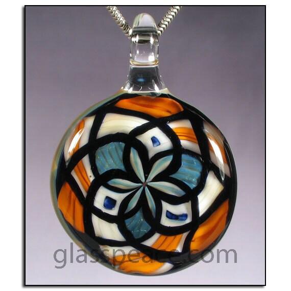SALE - Blue and Orange Reticello Blown Glass Pendant - Lampwork Necklace Focal - Hand Blown Glass Jewelry (4005)