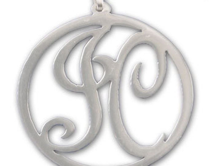 Round Monogram Necklace - Sterling Silver Choose from 2 styles