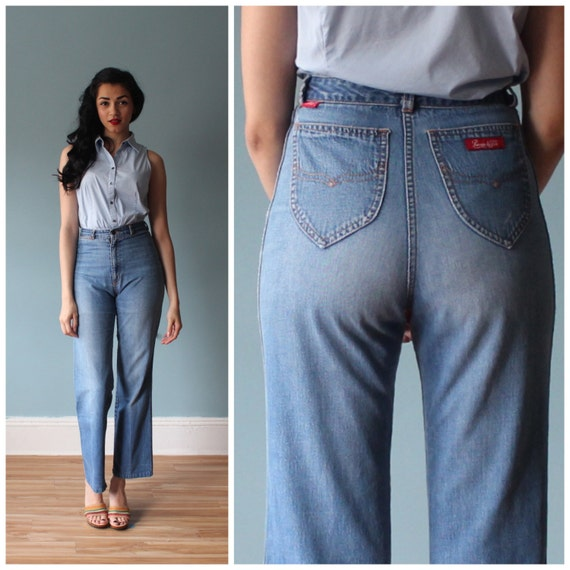 1970s High Waisted Jeans 70s Chermin De Fer By