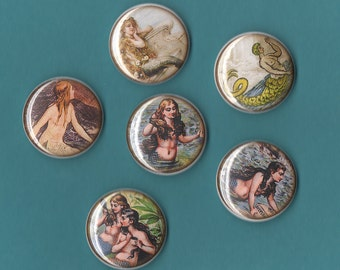 Vintage Mermaids 1 inch buttons ASSORTED
