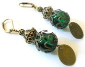 Green gypsy Earrings, rustic dangle earrings, Bohemian vintage inspired jewelry